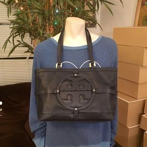 Tory Burch Navy Blue Leather Holly Tote Bag
